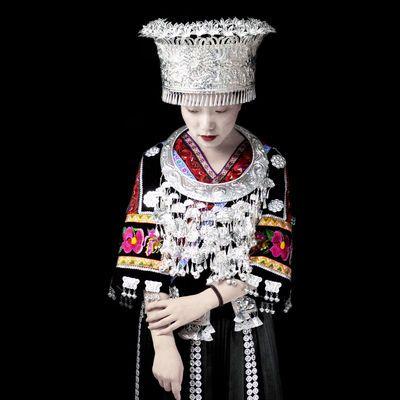 贵州苗族头饰苗银帽子项圈少数民族银饰侗族头饰舞台演出服饰包邮