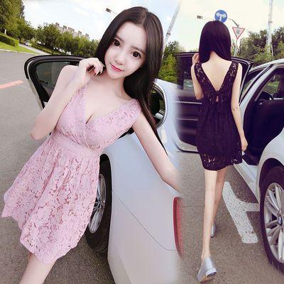 夏季韩版时尚气质显瘦礼服裙夜店性感V领低胸露背蕾丝连衣裙短裙