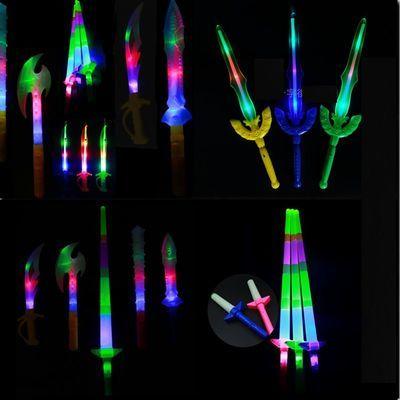 发光玩具七彩闪光刀剑电子狼牙棒小鲨鱼刀伸缩荧光棒斧头夜市热卖