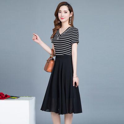 高品质条纹雪纺连衣裙夏季2020夏季新款女装显瘦中长款假两件A字