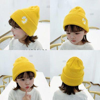 韩国男女童儿童洋气雏菊彩色针织毛线帽子宝宝套头糖果色瓜皮帽潮