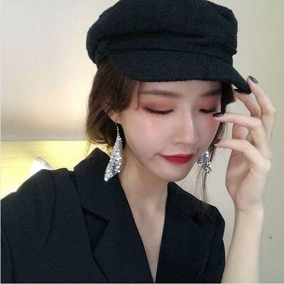 ins个性时髦拼接小圆片亮片几何耳环韩国精致链条耳坠耳夹女夜店