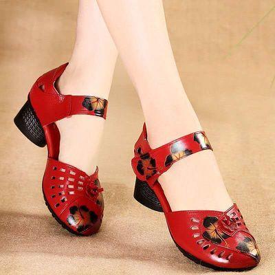 博芙妮民族风真皮凉鞋女夏季软底防滑中跟复古中老年妈妈跳舞鞋女