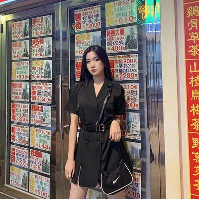 2020新款夏季胖MM黑色连衣裙女短袖双排扣裙子西装裙工装风收腰