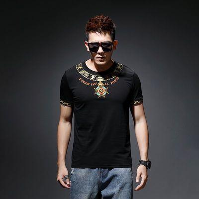 男士新款夏季短袖修身潮流韩版刺绣纯棉T恤男宽松百搭圆领打底衫