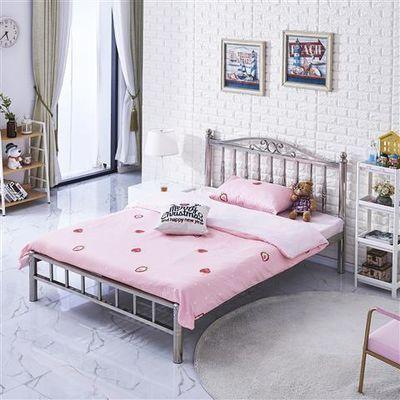 2020新款不锈钢床宿舍双人单人床简约铁架床小户型公寓铁艺床304