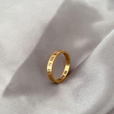 日系轻奢罗马数字食指戒指女ins潮网红简约个性时尚小众镶钻指环