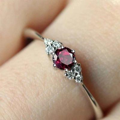 姐姐同款红宝石戒指 乘风破浪新款戒指女 石榴石纯银首饰戒指盒