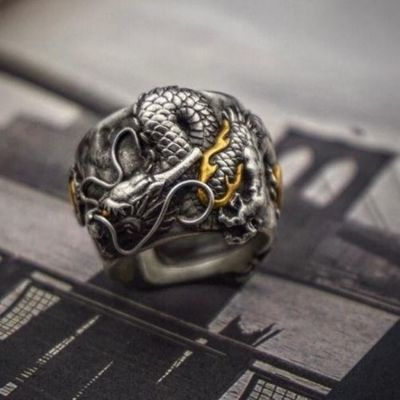 原创手工s925银镶金戒指从云龙男女情侣戒指霸气复古开口银指环
