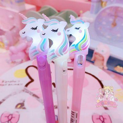 多功能花卉吊坠笔创意发光可变色干花灯泡笔黑笔韩国小清新中性笔