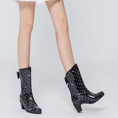 中筒雨鞋劳保清洁黑粉点加厚高跟水鞋雨靴套鞋女士包邮811