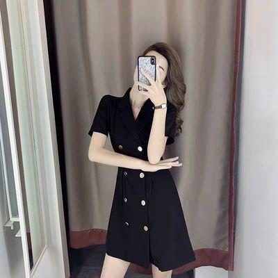 2020夏季新款黑色时尚女士韩版穿搭双排扣优雅修身显瘦短袖连衣裙