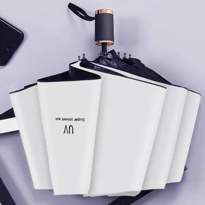 森系UV九合板加厚黑胶防晒防紫外线学生专用三折伞商务手动晴雨伞