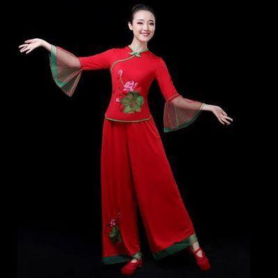 中老年广场舞服装秧歌服女套装2019夏季伞舞演出服扇子舞蹈服成人