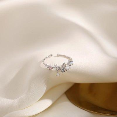 INS设计款花环戒指女 小清新镀银浪漫日系轻奢食指戒开口可调节潮