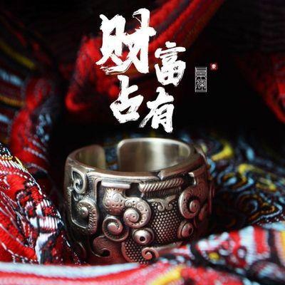 景澜S925银饕餮扳戒指男开口中国风潮人神兽女戒指时尚个性气质
