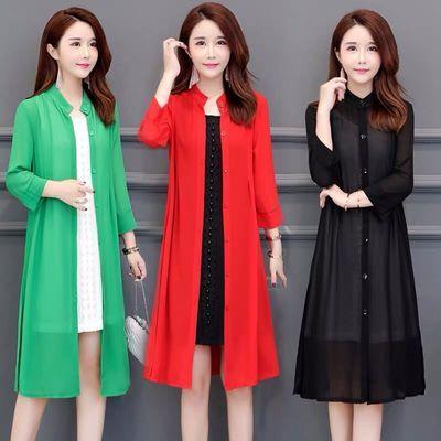 夏季新款大码防晒衣女中长款韩版披肩外搭雪纺衫防晒薄外套开衫