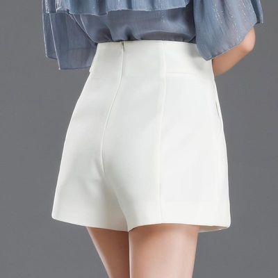 白色短裤女夏2020年新款高腰a字显瘦宽松阔腿外穿黑色西装休闲裤