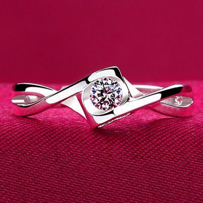上新S925纯银戒指女款日韩女式钻戒结婚银戒子饰品开口活口