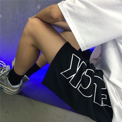 INSstudios.20ss韩国复古街头嘻哈大字母印花运动休闲短裤 男女款