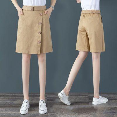 西装短裤女五分裤女直筒港味夏季薄款宽松2020新款大码高腰裙裤女