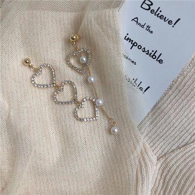 S925银针少女爱心钻珍珠流苏不对称耳环韩国可爱百搭桃心耳饰597