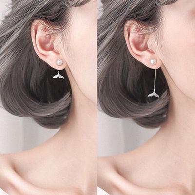 2020新款饰品韩国925纯银流苏2戴珍珠耳环人鱼耳坠女长款气质耳钉