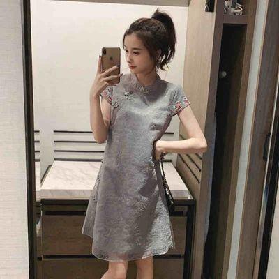 初恋egg裙改良版新式旗袍欧根纱连衣裙超仙冷淡少女小清新a字裙子