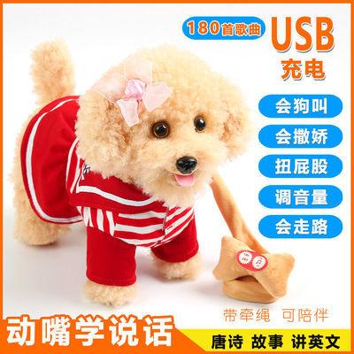 儿童玩具狗牵绳走路电动小狗毛绒会唱歌跳舞仿真泰迪狗音乐机械狗