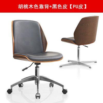老板办公椅子现代简约靠背木电脑椅无扶手家用舒适久坐升降皮转椅