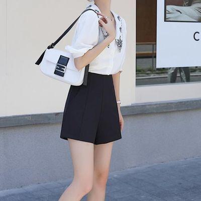 短裤女夏宽松2020新款黑色高腰西装显瘦外穿a字雪纺阔腿休闲白色