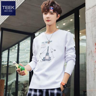 TEEK纯棉长袖t恤男装衣服 2020秋季新款男士上衣青少年打底衫秋装