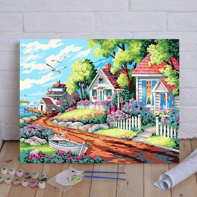 DIY数字油画 风景建筑客厅现代简约情侣大幅手绘装饰画 梦幻别墅