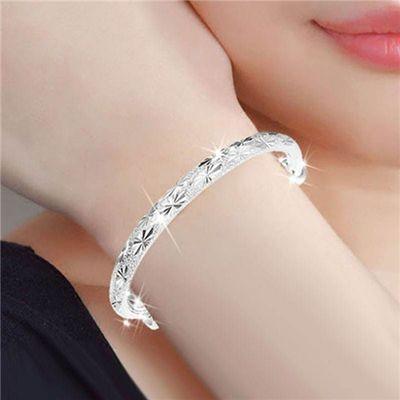 镀999纯银手镯女 满天星转运珠手环时尚简约手链银镯子学生日礼物