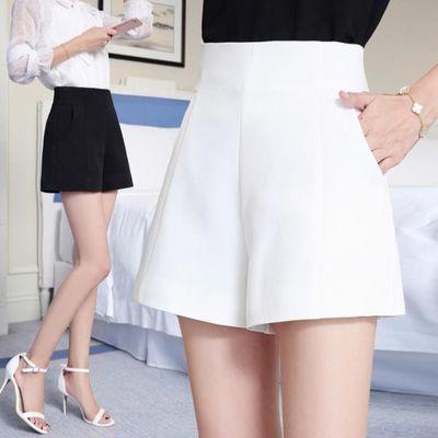 高腰a字阔腿短裤女夏季2020新韩版宽松显瘦白色休闲西装短裤学生