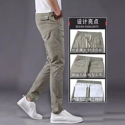 男裤薄款潮流卡其色冰丝夏季男士休闲裤修身韩版宽松速干裤男小脚