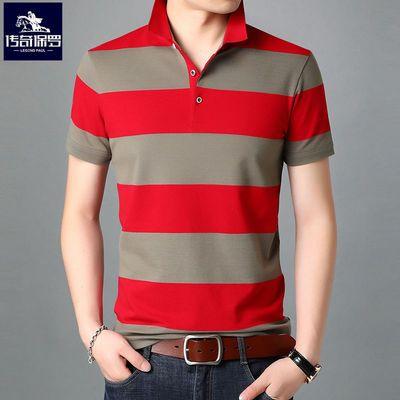 高品质冰丝棉条纹POLO衫短袖T恤男装新款翻领中青年潮流宽松学生