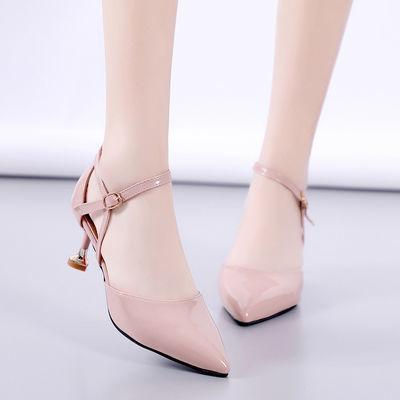 韩版2020夏新款尖头漆皮细跟高跟凉鞋中跟包头一字扣性感显瘦女鞋