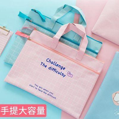 手提文件袋a4双层拉链学生大容量多层帆布防水女简约小学生用科目
