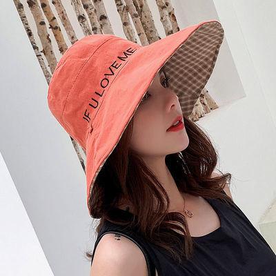 渔夫帽双面戴女韩版百搭折叠遮阳帽遮脸夏季笑脸户外防晒帽子圆脸