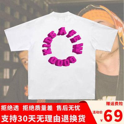 FFF马思唯同款白色印花T恤玫红字母地球宽松小领口男潮短袖TEE