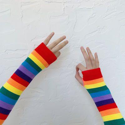 19ss夏季韩国ins网红同款原宿泫雅风彩虹条袖套防晒手袖手套男女