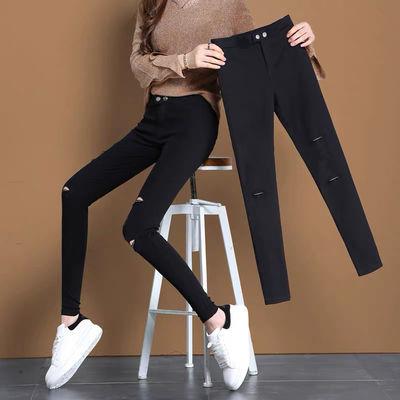 破洞打底裤女外穿夏季薄款2020新款九分小黑裤魔术裤铅笔小脚裤子