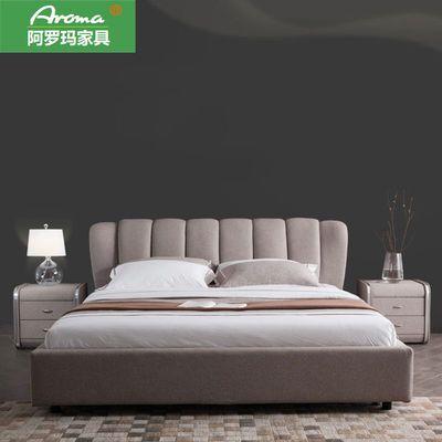 双人床1.8米北欧风轻奢实木主卧布艺床 简约现代可拆洗小户型婚床