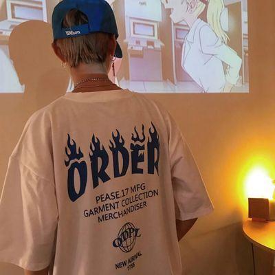 勒是雾都 韩国INS同款复古风火焰字母印花短袖T恤 18ss男女款