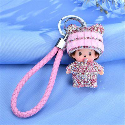网红装饰品蒙奇奇钥匙扣钥匙挂件汽车钥匙扣镶钻水晶女神包包挂件