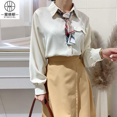 衬衫女2020新款春装雪纺上衣女士法式小清新复古港味冷淡风衬衣