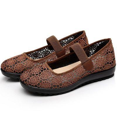 布鞋女 中老年休闲鞋夏季新款老美华父亲布鞋透气防滑软底