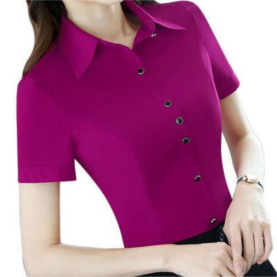衬衫女短袖2020春装新款韩范职业装宝蓝色大码白色打底工作服衬衣