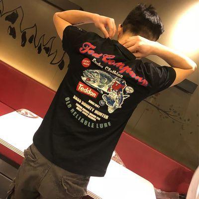 夏季tee 日系印花 纯棉钓鱼 鬼黑鱼恶魔 幸运收获潮人T恤男款短袖